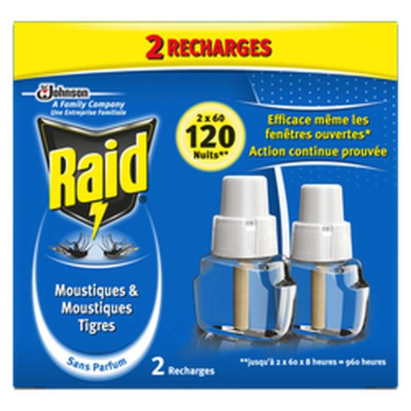 Recharge diffuseur électrique anti-moustiques, Raid (x 2, 120 nuits)