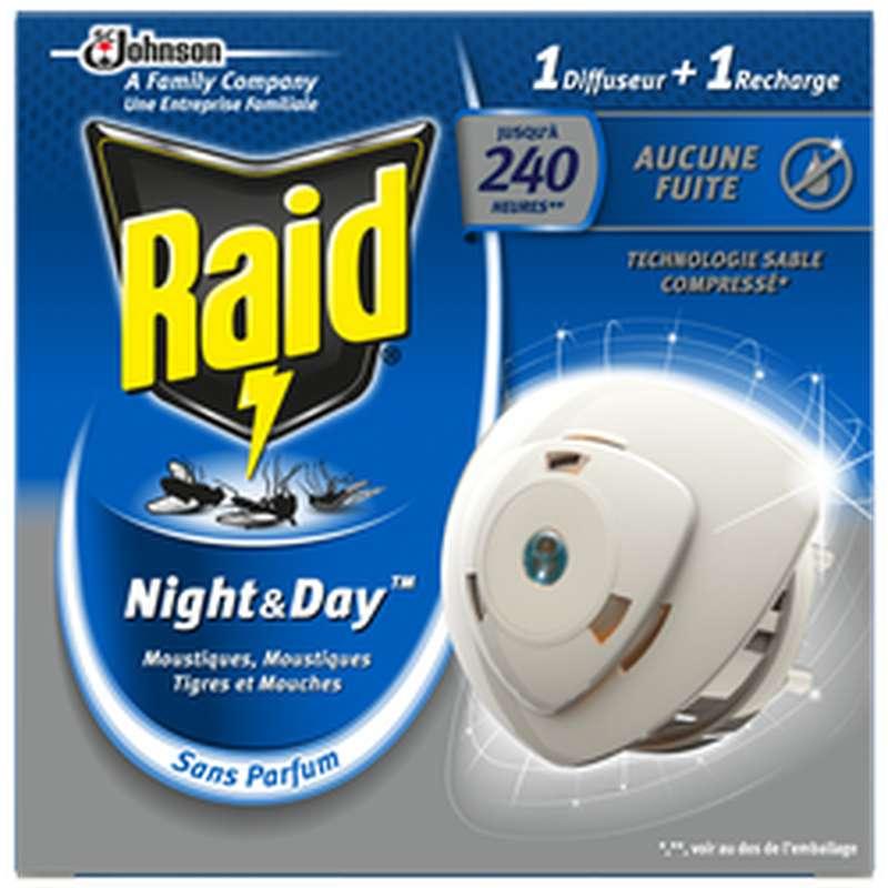 Diffuseur électrique + recharge anti-moustiques et mouches Night & Day, Raid