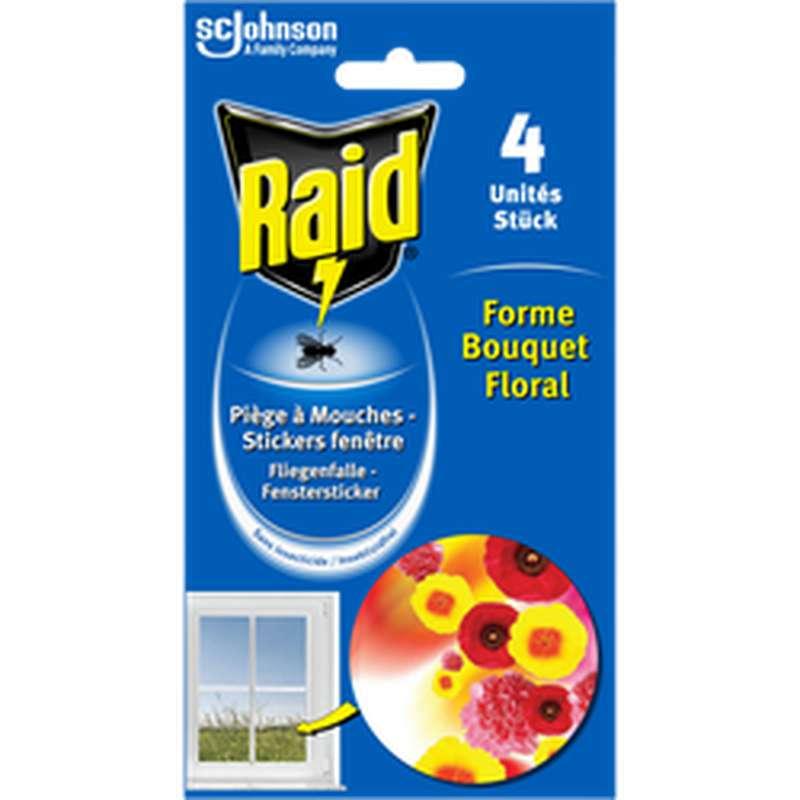 Piège à mouche stickers fenêtre bouquet floral, Raid (x 4)
