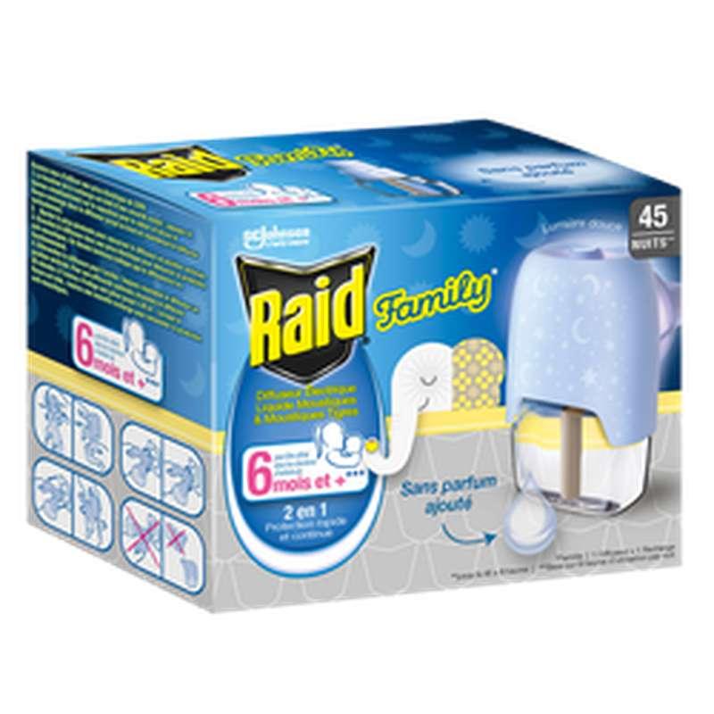 Diffuseur électrique + recharge liquide anti-moustiques Family, Raid (45 nuits)
