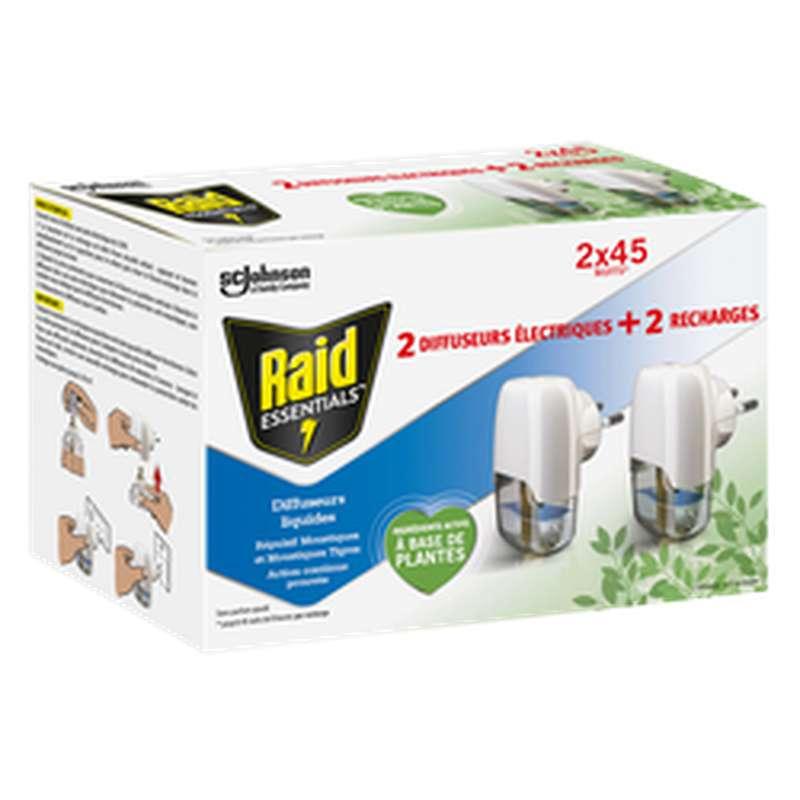 Diffuseur électrique + recharge liquide anti-moustiques, Raid Essentials (2 x 45 nuits)