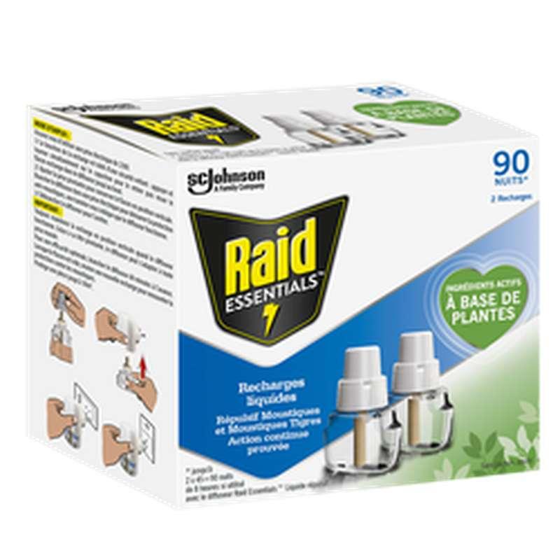 Recharge liquide anti-moustiques, Raid Essentials (x 2, 90 nuits)