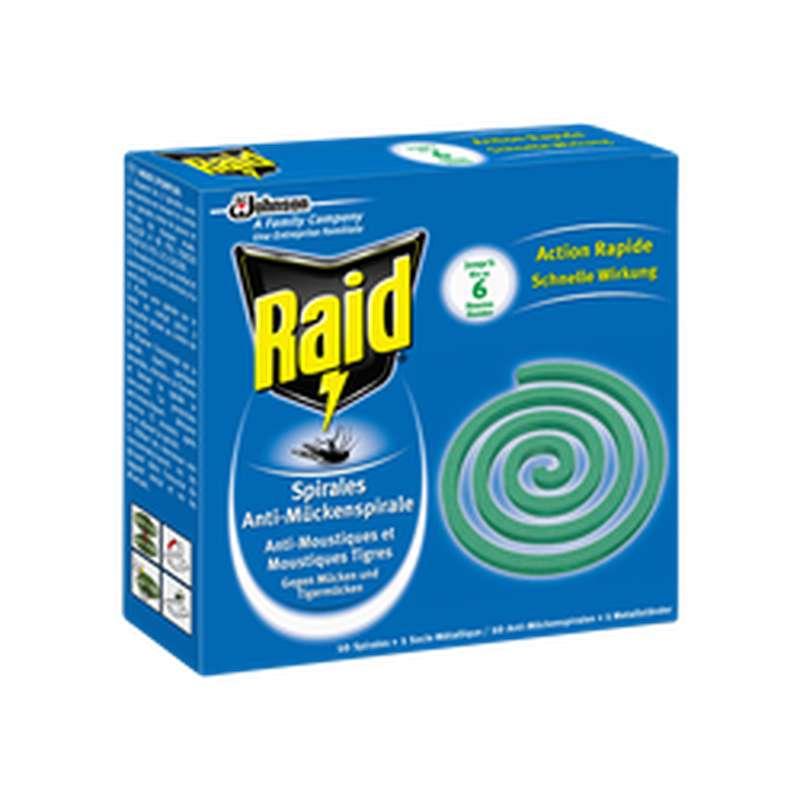 Spirales anti-moustiques pour extérieur, Raid (x 10 + socle)