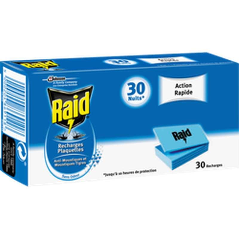 Recharge pour diffuseur électrique anti-moustiques plaquette inodore, Raid (x 30, 30 nuits)