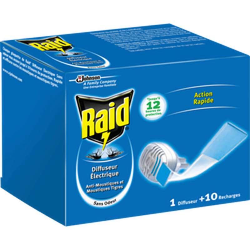 Diffuseur électrique plaquette + recharge anti-moustiques, Raid (x 10 plaquettes)