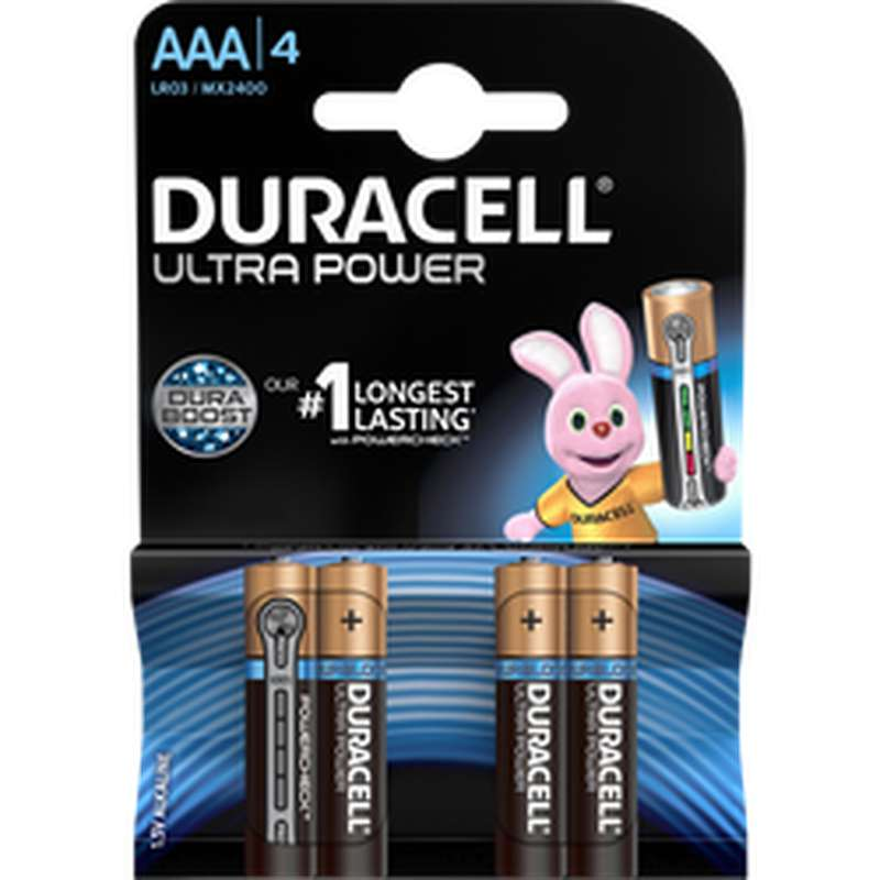 Piles AAA/LR3 Cravate Ultra Power, Duracell (x 4)