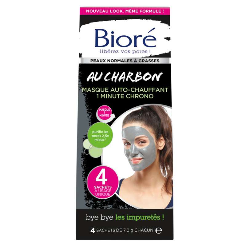 Masque au charbon auto-chauffant, Bioré (x 4)