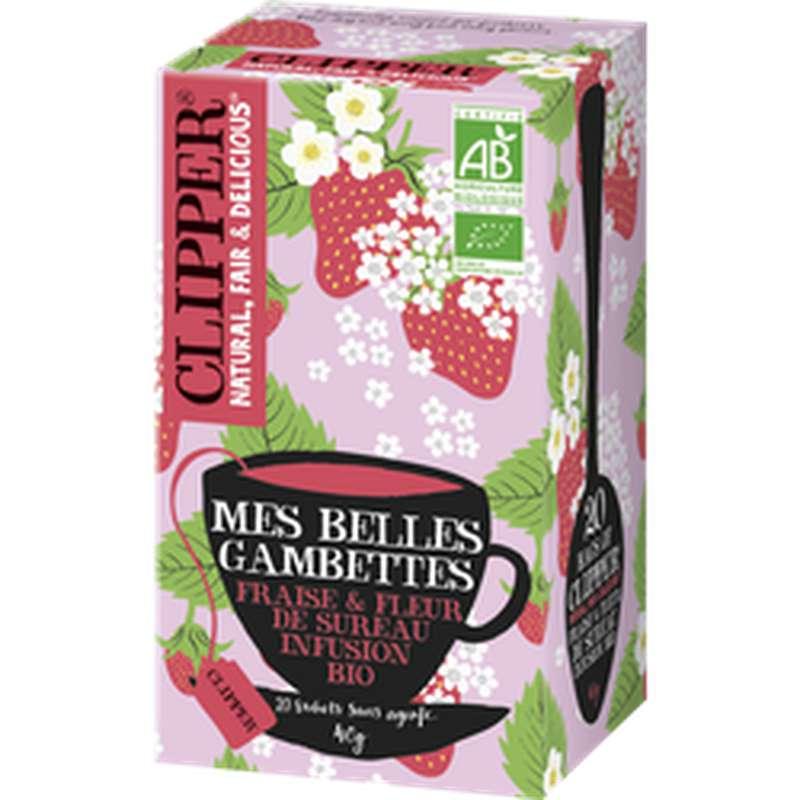 """Infusion fraise et fleur de sureau BIO """"Mes belles gambettes, Clipper (40 g)"""