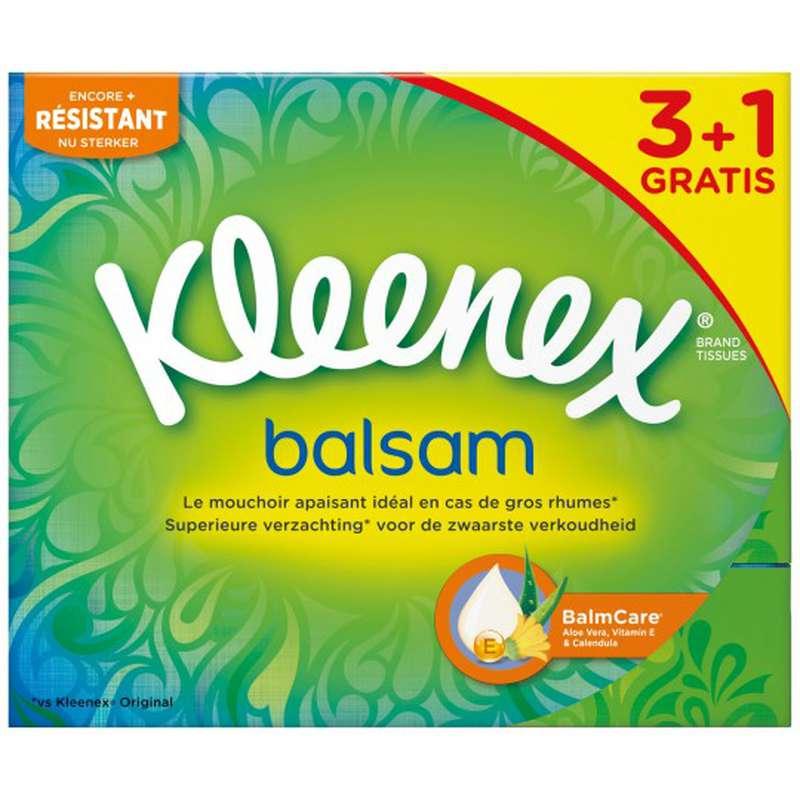 Boite de mouchoirs balsam, Kleenex OFFRE SPECIALE / 3 + 1 offert (x 4)