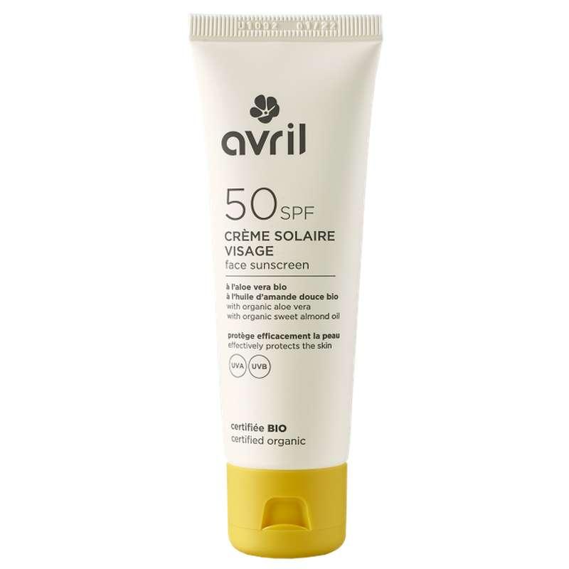 Crème solaire visage SPF 50 certifiée BIO, Avril (50 ml)
