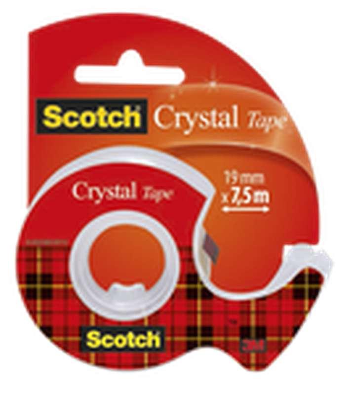 Ruban adhésif Crystal transparent + dévidoir, Scotch (7,5 m x 19 mm)
