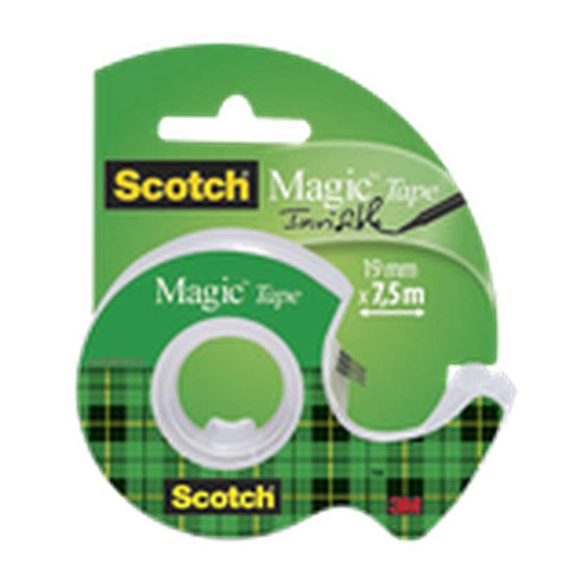 Ruban adhésif Magic invisible + dévidoir, Scotch (7,5 m x 19 mm)
