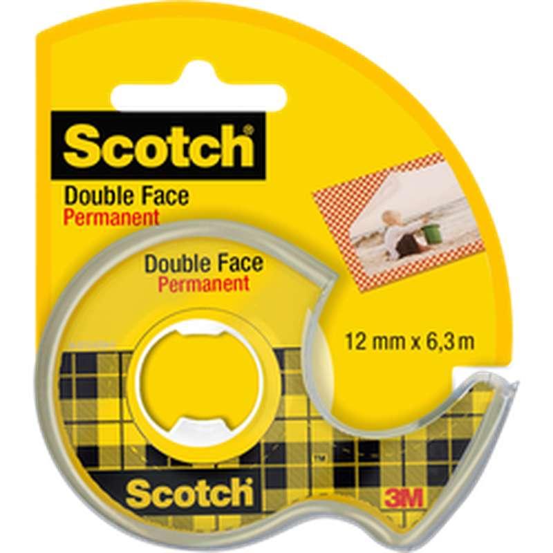 Ruban adhésif Double Face permanent + dévidoir, Scotch (12 mm x 6,3 m)