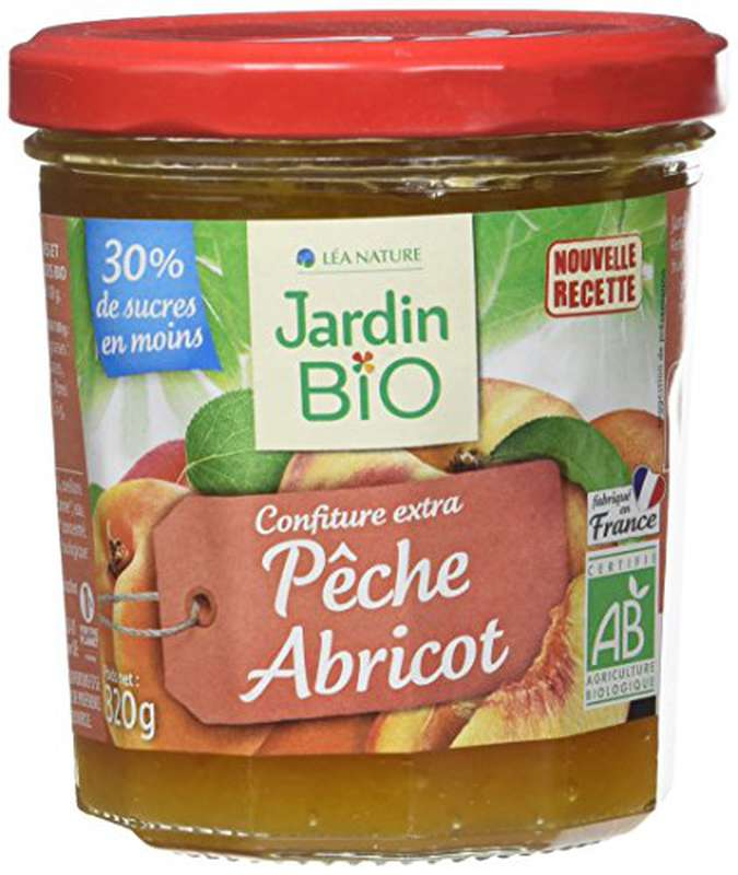 Confiture extra pêche et abricot BIO, Jardin Bio (320 g)