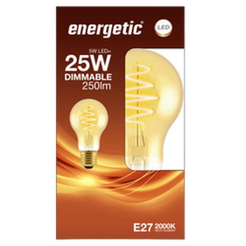 Ampoule LED déco spirale doré 25W culot E27, Energetic