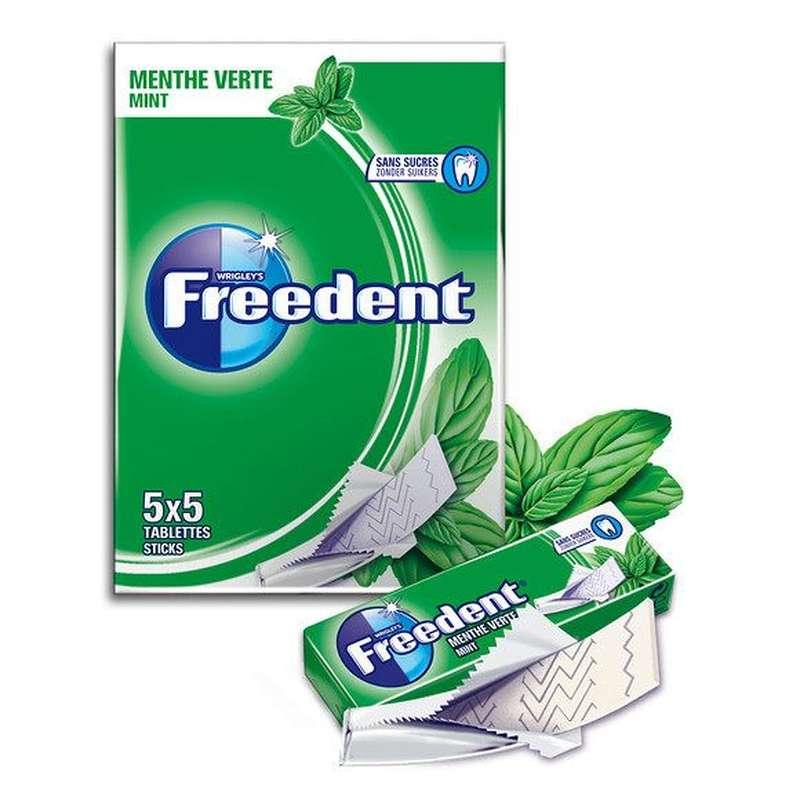 Chewing-gum tablette menthe verte sans sucre, Freedent (5 étuis de 5 tablettes)
