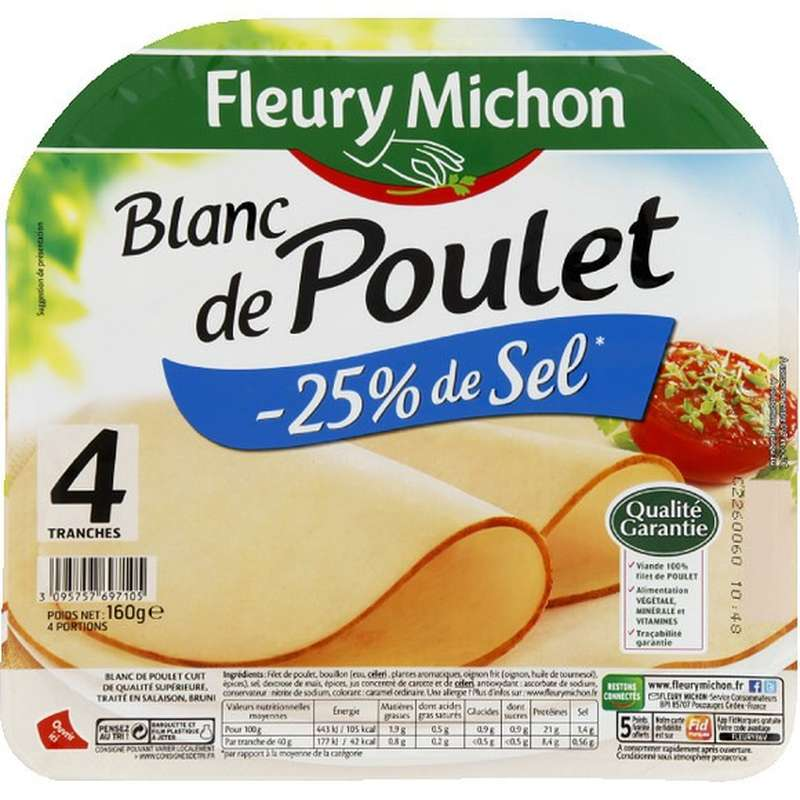 Blanc de poulet doré au four réduit en sel, Fleury Michon (4 tranches, 160 g)