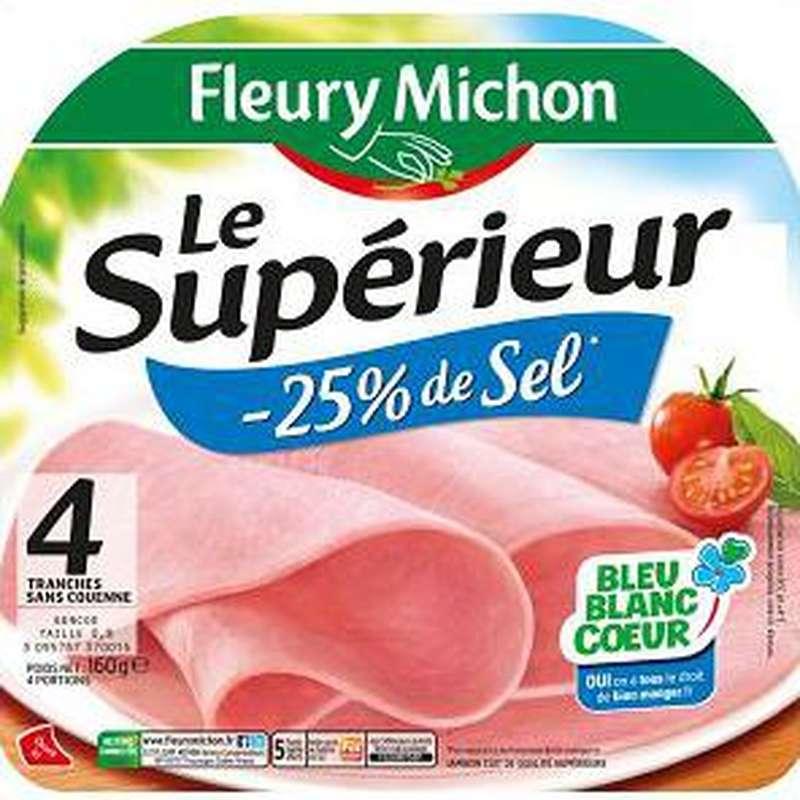 Jambon Le Supérieur - 25% de sel, Fleury Michon (4 tranches, 160 g)