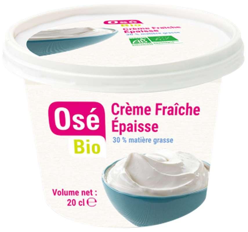 Crème fraîche de vache épaisse BIO 30 % MG, Osé Bio (20 g)