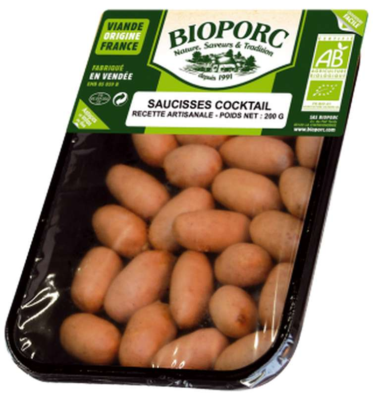 Saucisses cocktail BIO, Bioporc (200 g)