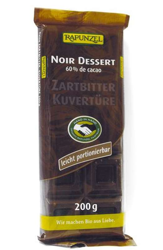 Chocolat noir dessert 60% de cacao BIO, Rapunzel (200 g)