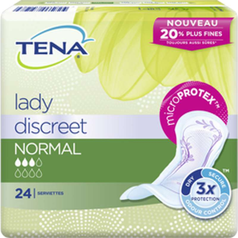 Serviettes pour incontinence discreet normal, Tena Lady (x 24)