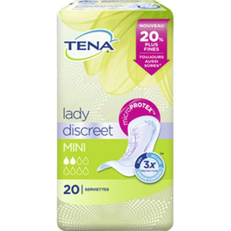 Serviettes pour incontinence discreet mini, Tena Lady (x 20)