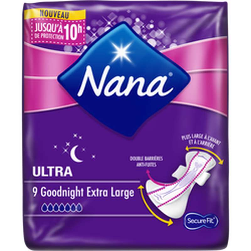 Serviette ultra dryfast goodnight extra large, Nana (x 9)