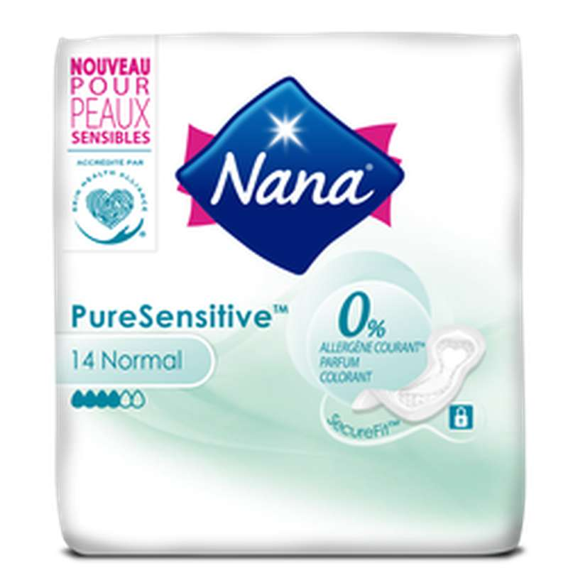 Serviettes pure sensitive avec ailettes Normal+, Nana (x 14)