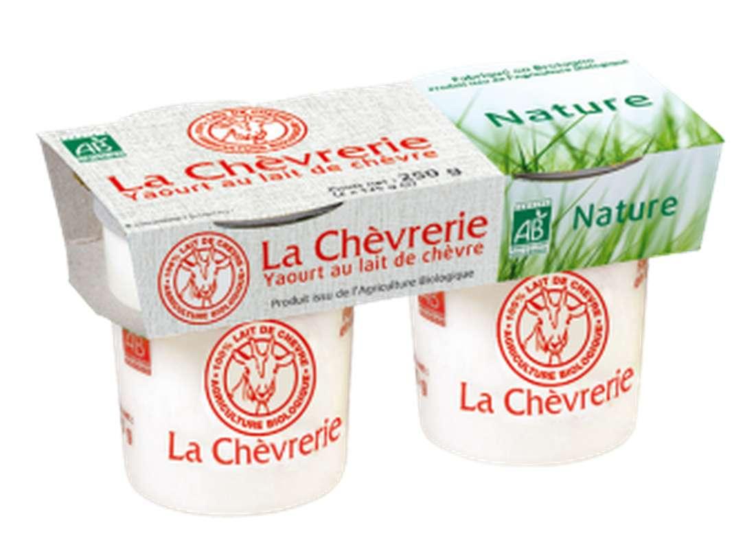 Yaourt nature au lait de chèvre BIO, La Chèvrerie (2 x 125 g)