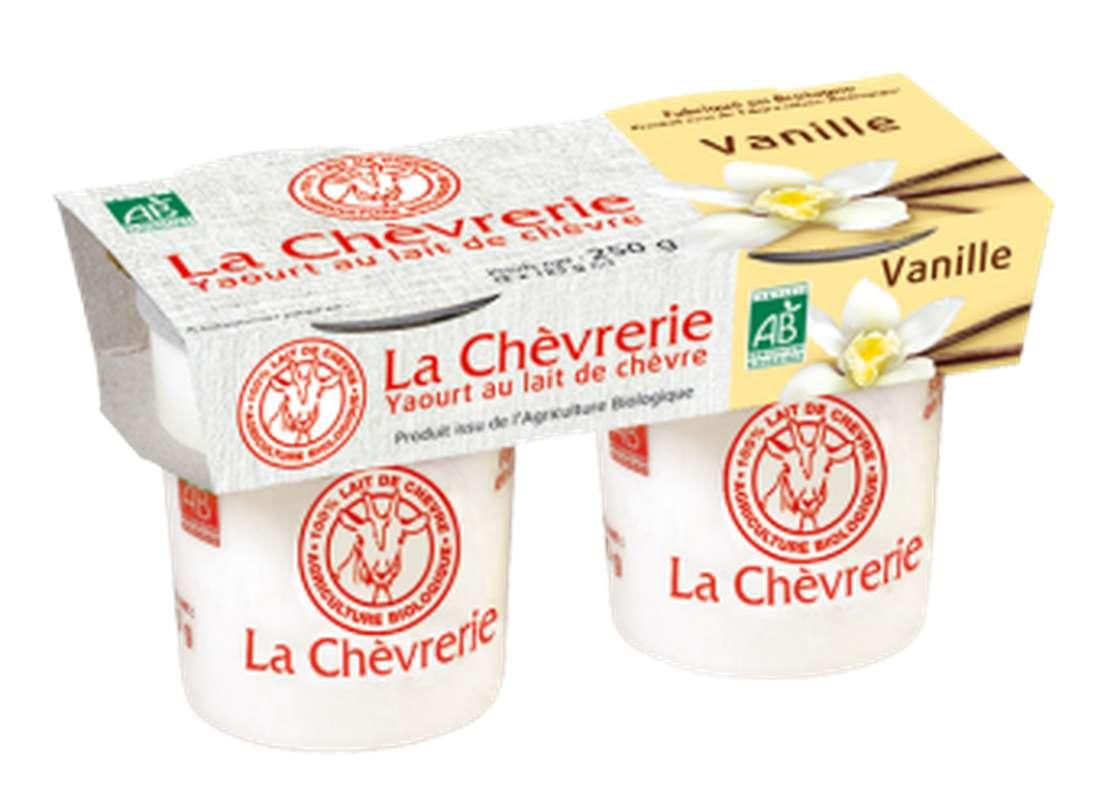 Yaourt au lait de chèvre saveur vanille BIO, La Chèvrerie (2 x 125 g)