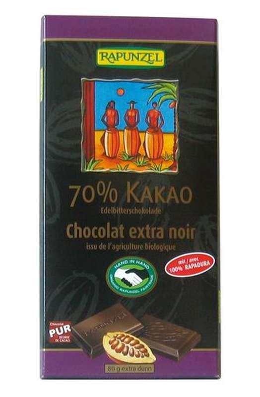 Chocolat extra noir 70% de cacao BIO, Rapunzel (80 g)