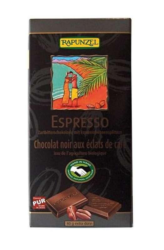 Chocolat noir Espresso aux éclats de café BIO, Rapunzel (80 g)