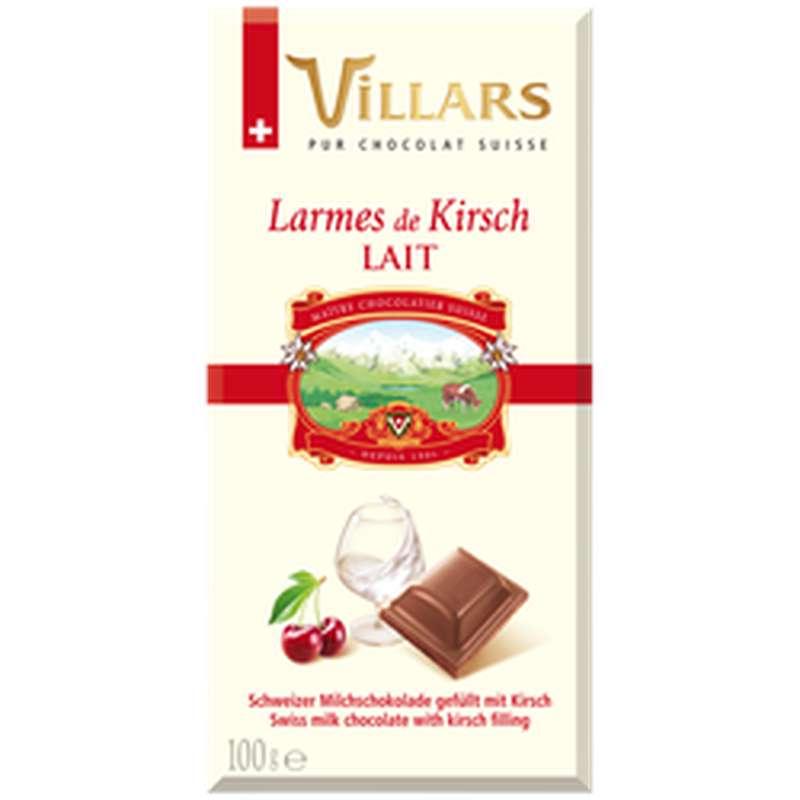 Chocolat aux lait aux larmes de liqueur Kirsh, Villars (100 g)