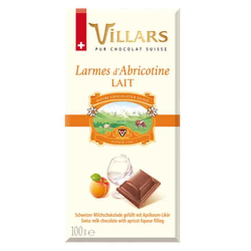 """Chocolat au lait à la liqueur d'abricot """"Larmes d'Abricotine"""", Villars (100 g)"""