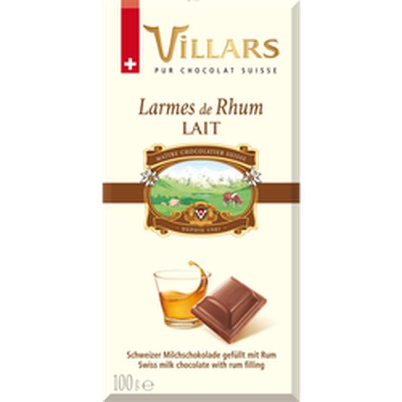 Chocolat aux lait et larmes de rhum de Martinique, Villars (100 g)
