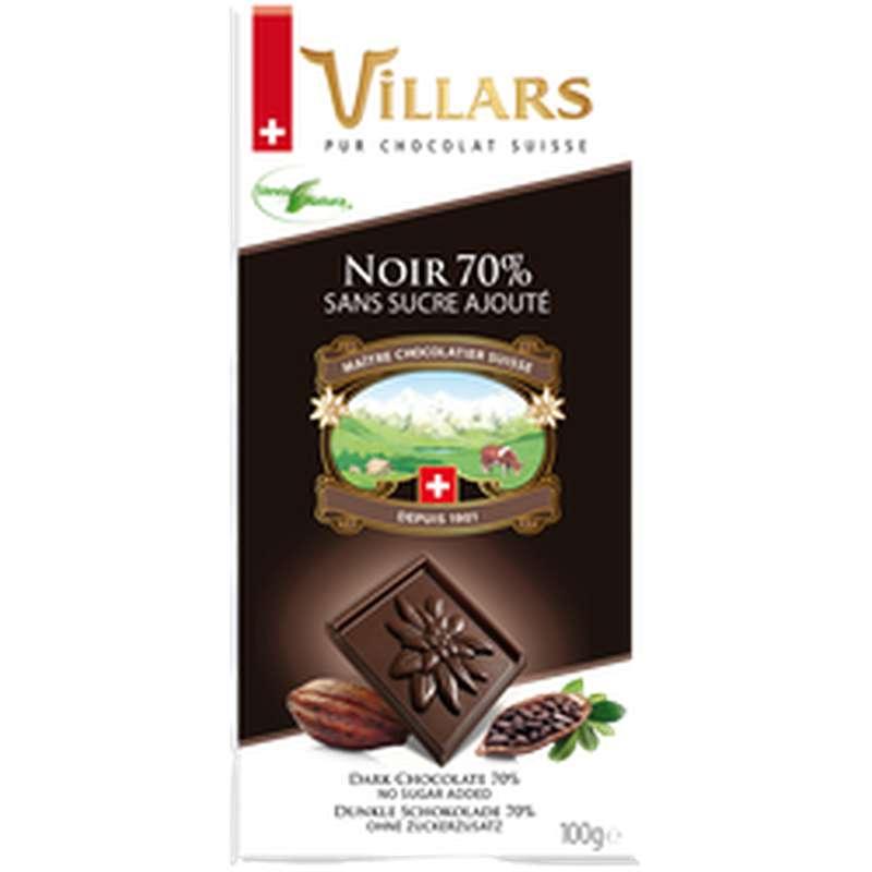 Chocolat noir 70% de cacao sans sucre ajouté, Villars (100 g)