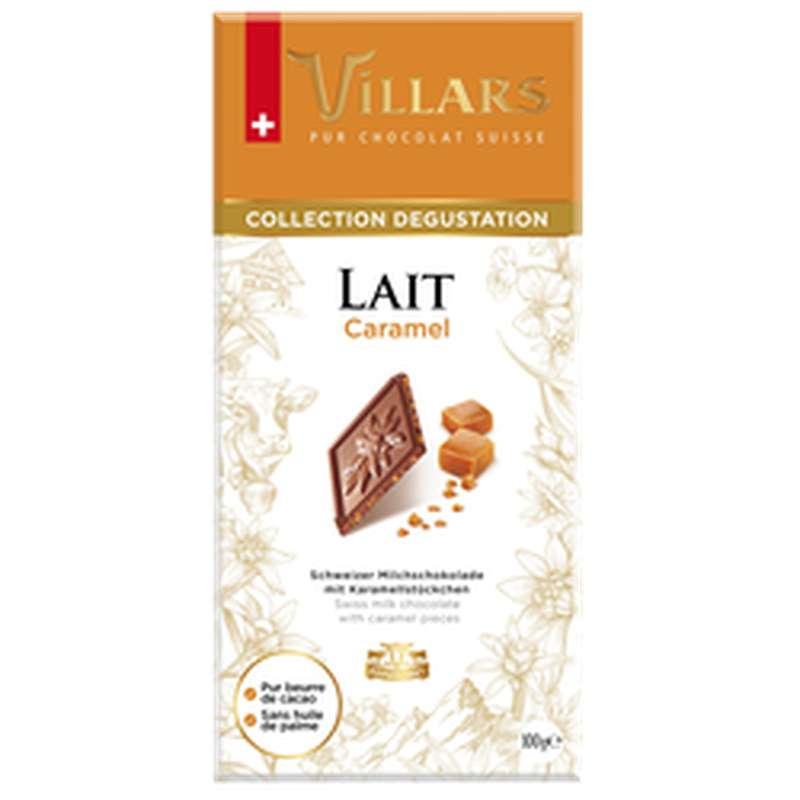 Chocolat dégustation au lait et aux éclats de caramel, Villars (100 g)
