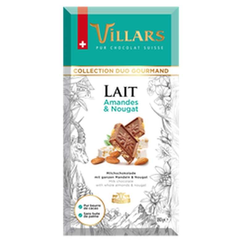 Chocolat au lait amande et nougat, Villars (180 g)