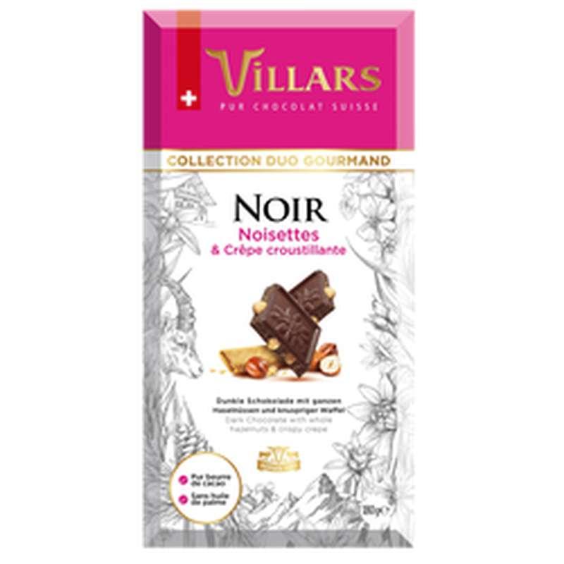 Chocolat noir noisettes et crêpe croustillante, Villars (180 g)
