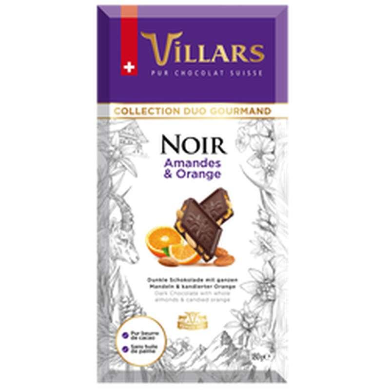 Chocolat noir amandes et orange, Villars (180 g)