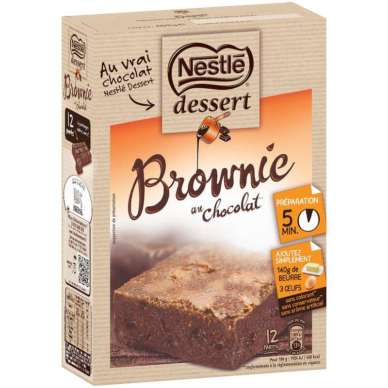Préparation gâteau Brownie chocolat, Nestlé dessert (405 g)
