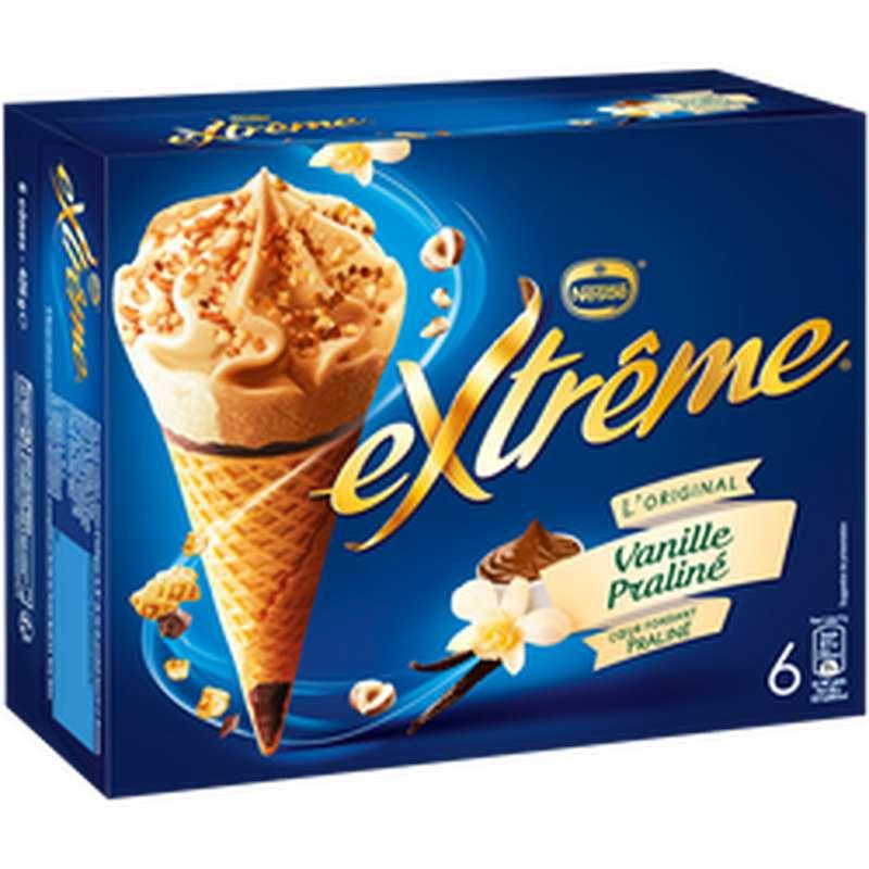 Cônes glacés vanille praliné, Extrême (x 6, 426 g)