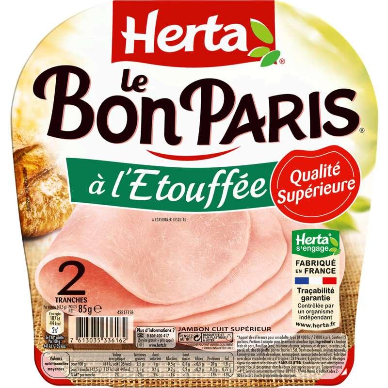 Jambon Le Bon Paris découenné et dégraissé à l'étouffée, Herta (2 tranches, 85 g)