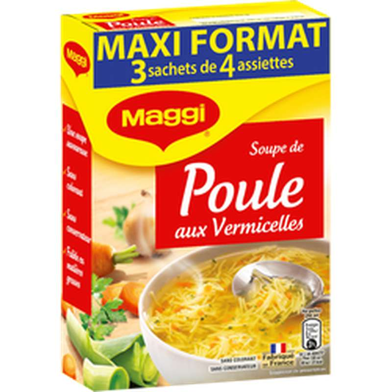 Soupe de poule aux vermicelles déshydratée, Maggi (3 x 59 g)