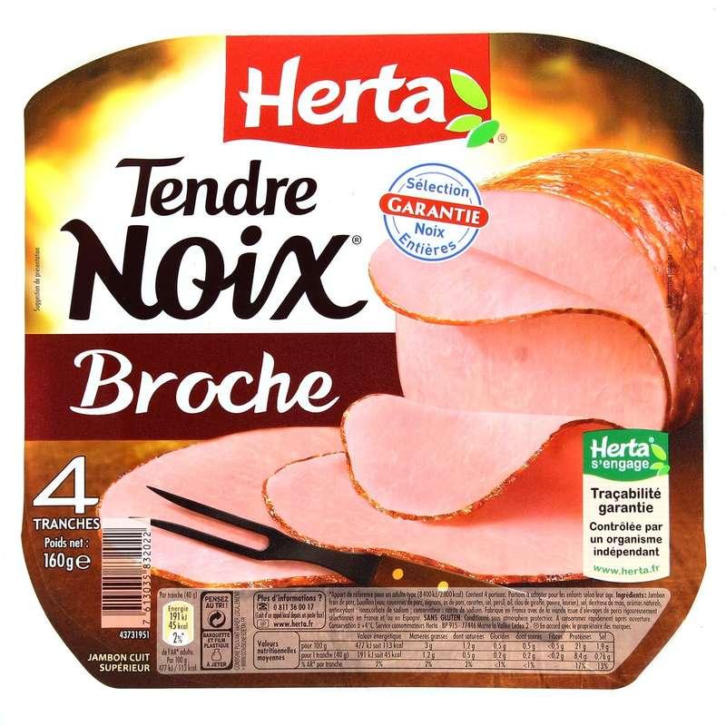 Jambon tendre noix à la broche, Herta (4 tranches, 160 g)