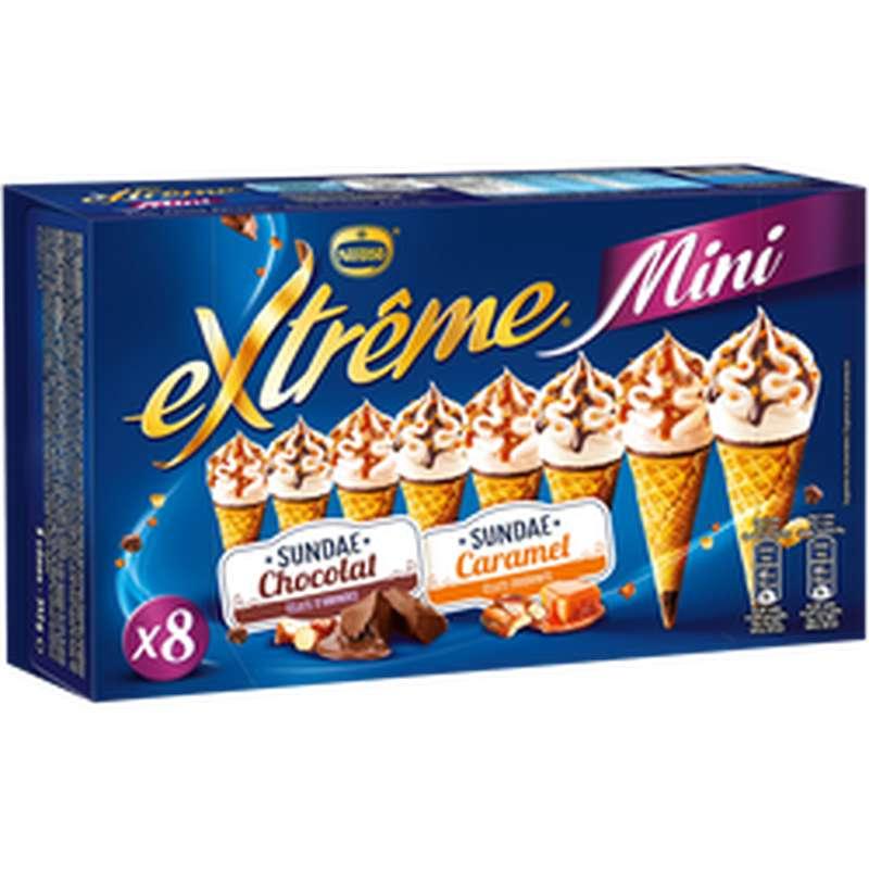 Mini cône sundae caramel + chocolat, Extreme (x 8, 312 g)
