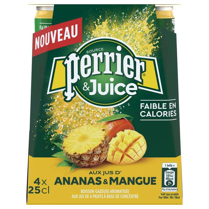 Boisson gazeuse ananas & mangue, Perrier (4 x 25 cl)