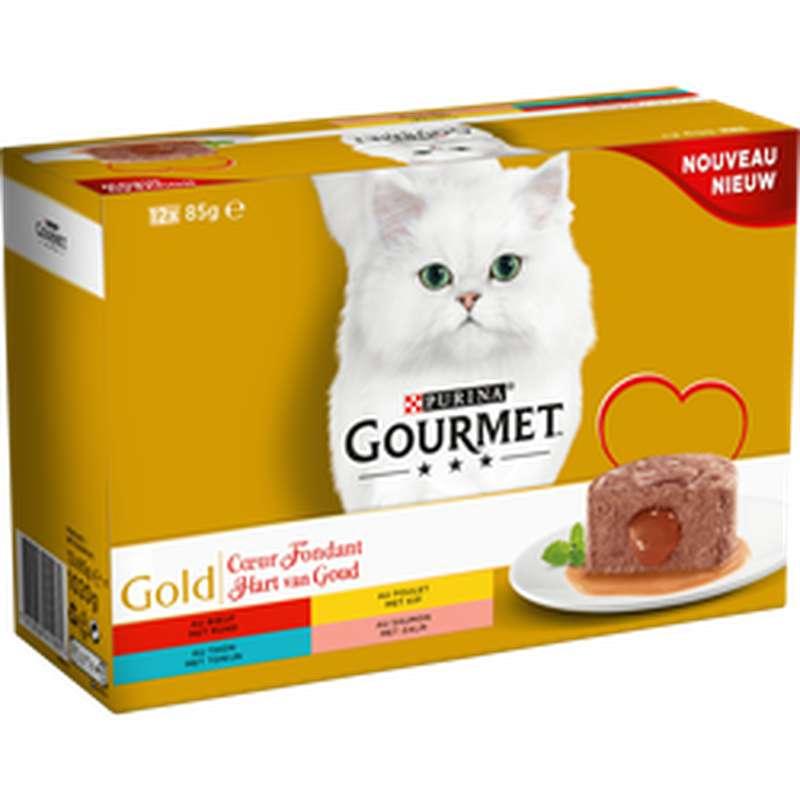 Gourmet gold coeur fondant aux poissons, Purina (12 x 85 g)