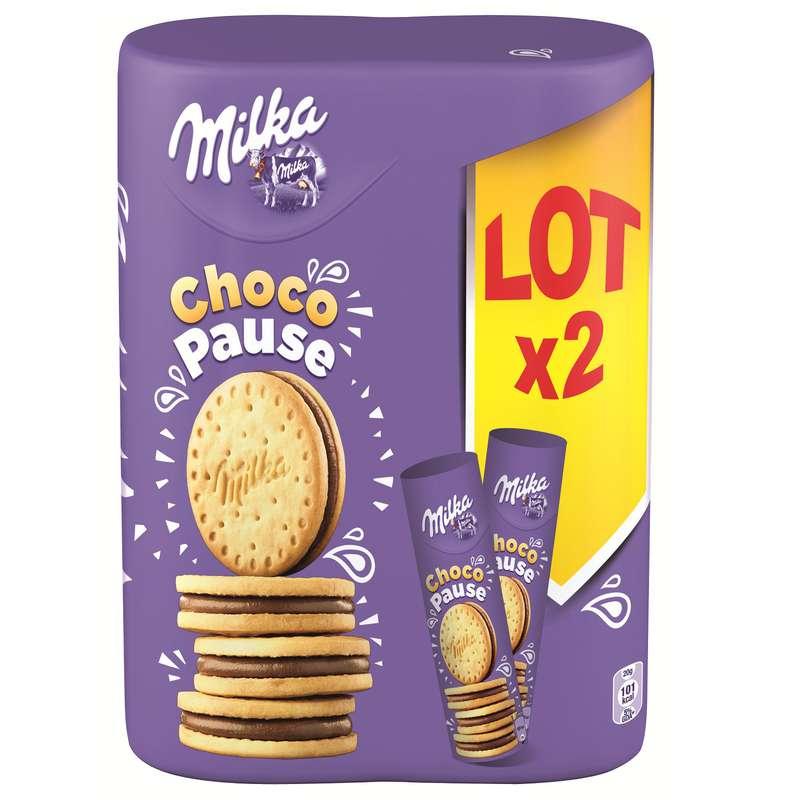 Biscuits fourrage chocolat lait, Milka (x 2, 520 g)